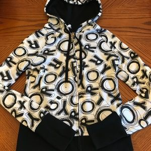 Roxy Reversible Zip Sweatshirt Hoodie Black White
